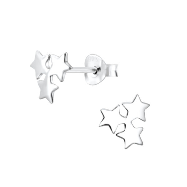 triple star sterling silver post earrings