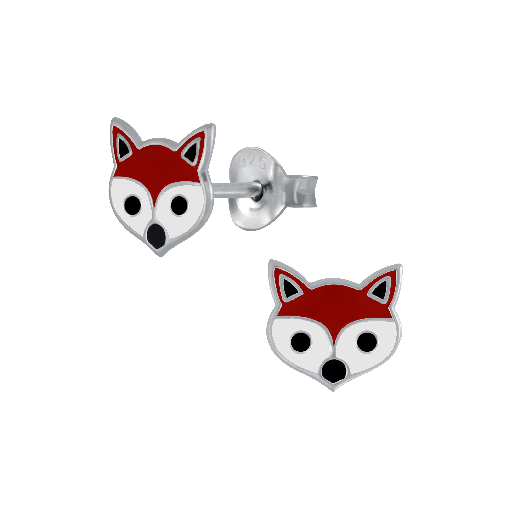 fox head sterling silver post earrings