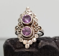 Purple amethyst two stone sterling silver ring
