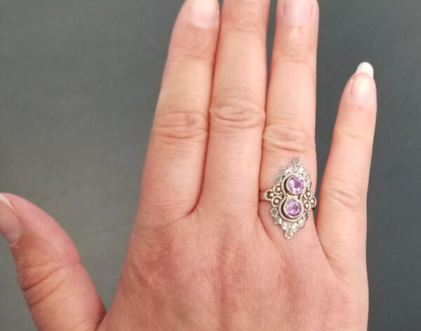 two stone amethyst ring on hand