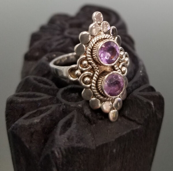turned view of amethyst two stone ring
