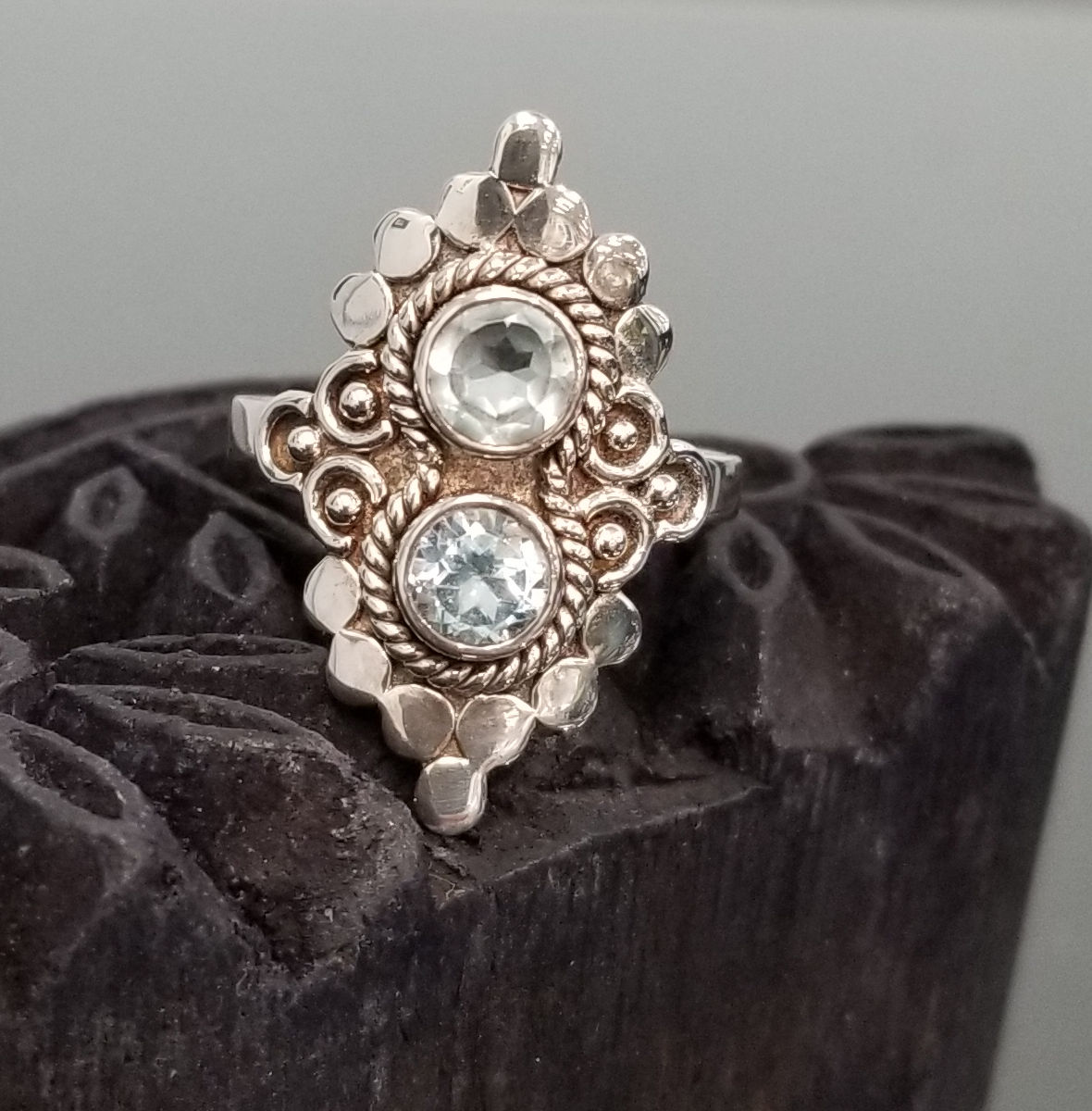 blue topaz and sterling silver two stone statement ring