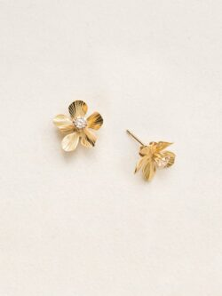 Holly Yashi plumeria flower goldtone stud earrings