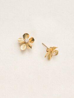 Holly Yashi plumeria flower goldtone stud earrings