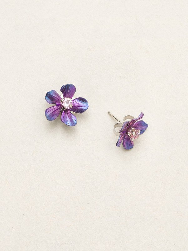 Purple Plumeria flower post earrings