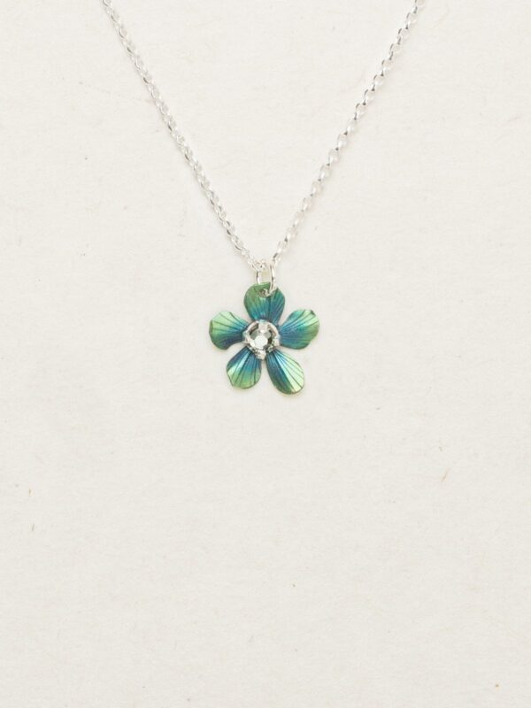 plumeria flower necklace in blue and green