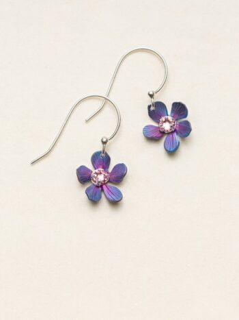 Dark blue and purple plumeria flower dangle earrings from Holly Yashi