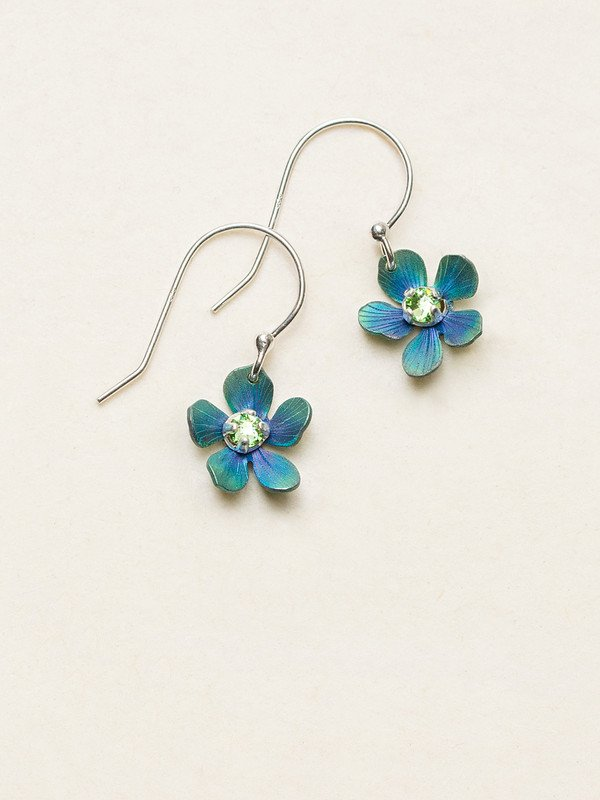 Turquoise color and green Plumeria flower dangle earrings