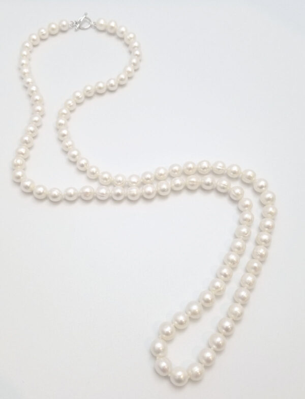 35 inch long 9mm white fresh water pearl necklace with sterling silver toggle clasp