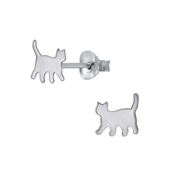 petite walking cat sterling silver post earrings