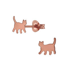 rose gold-plated sterling silver cat earrings