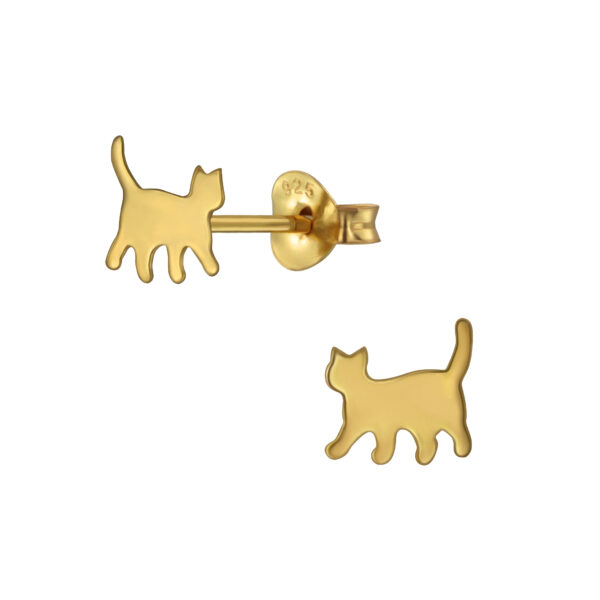 gold-plated sterling silver cat post earrings