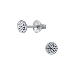 tiny quilt inspired sterling silver stud earrings