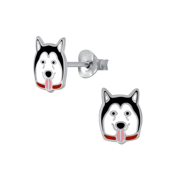 black and white dog earrings