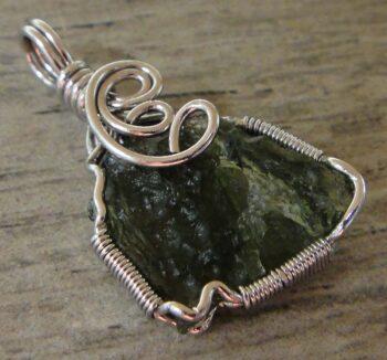 Handmade moldavite and sterling silver pendant