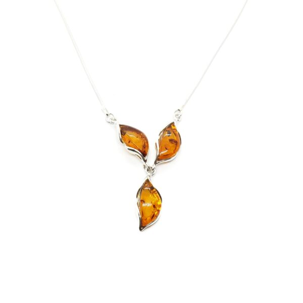 three stone amber and sterling silver necklace
