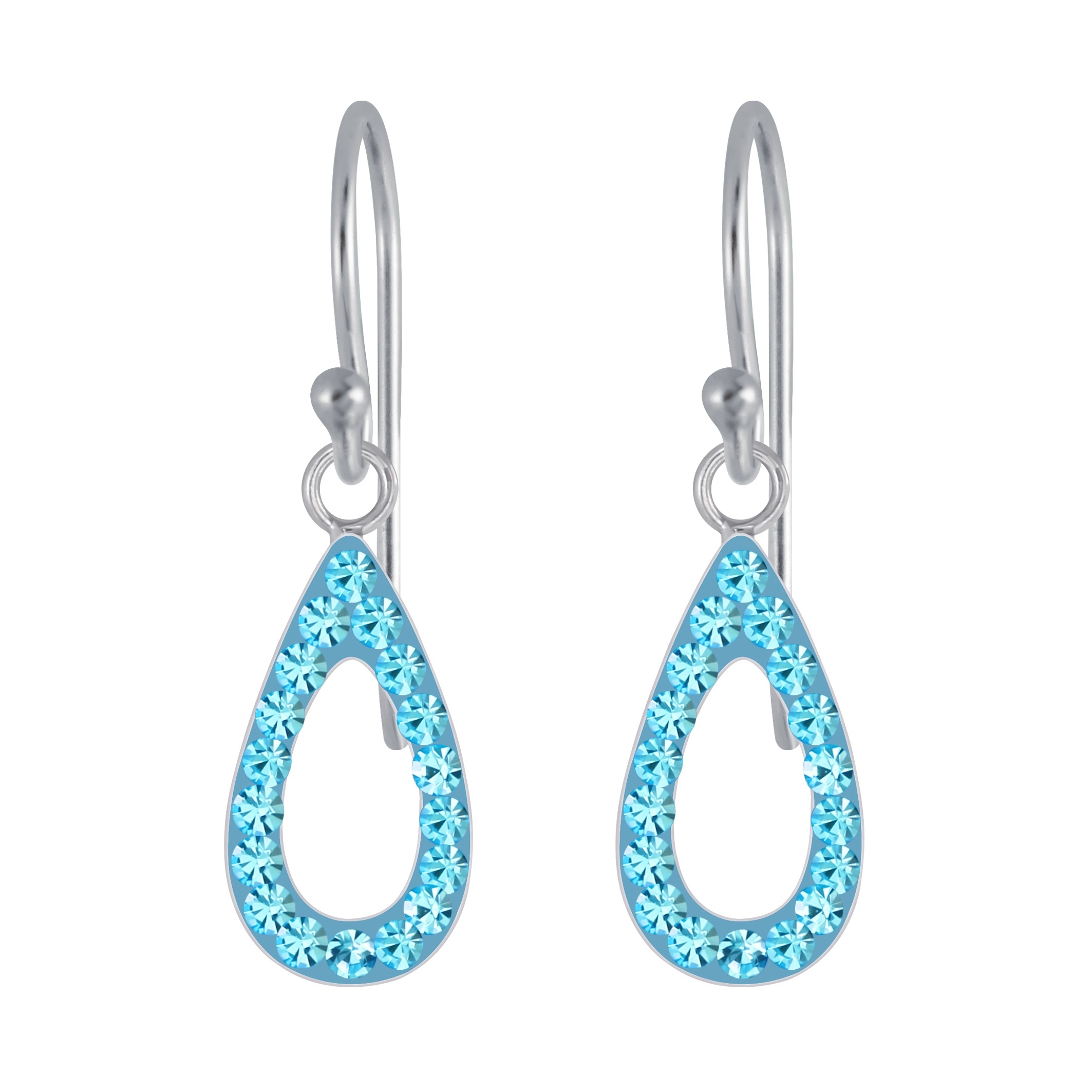 petite teal crystal and sterling silver drop earrings