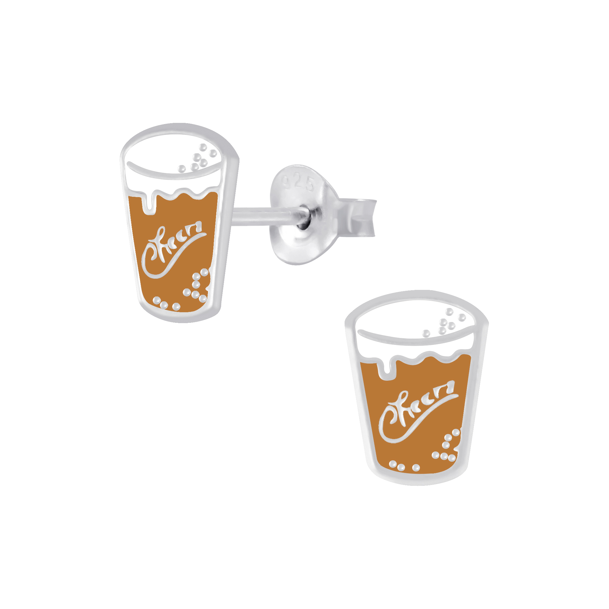 beer pint glass stud earrings