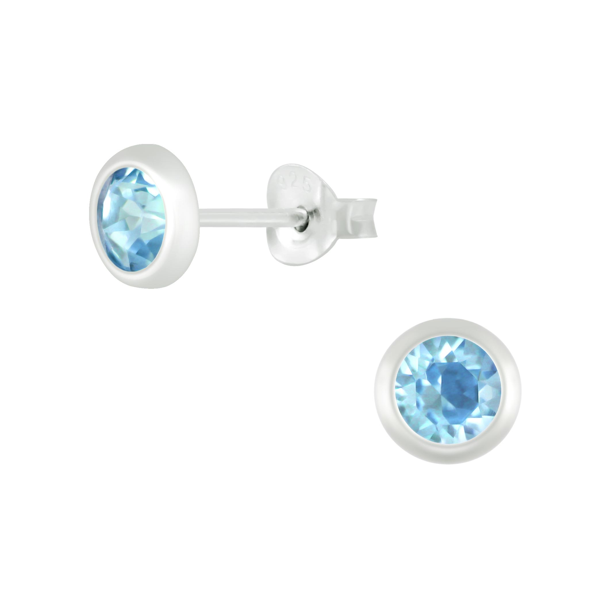 light blue crystal stud earrings