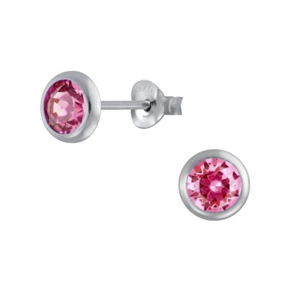 pink crystal stud earrings