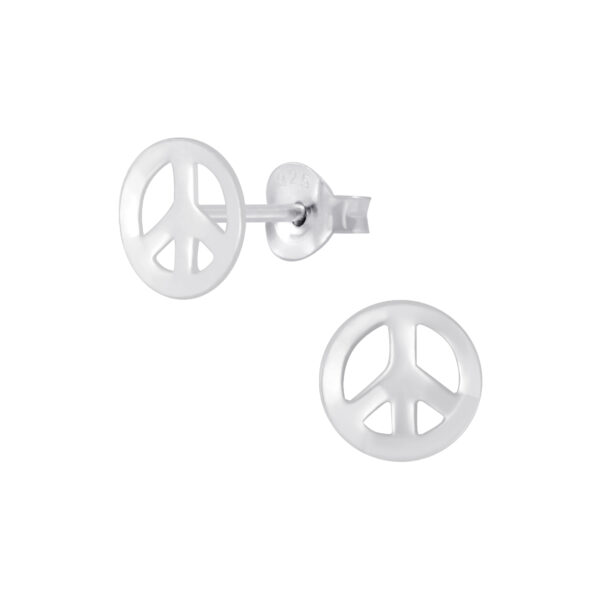 peace sign sterling silver stud earrings