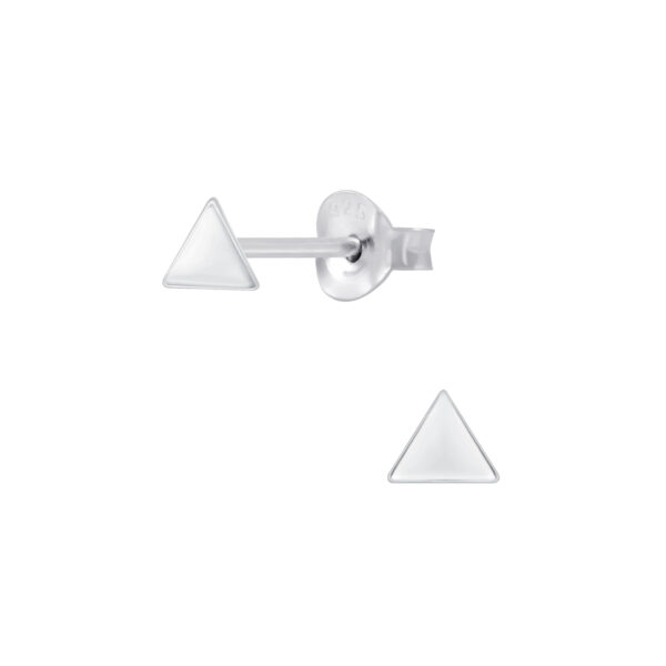 petite triangle sterling silver post earrings