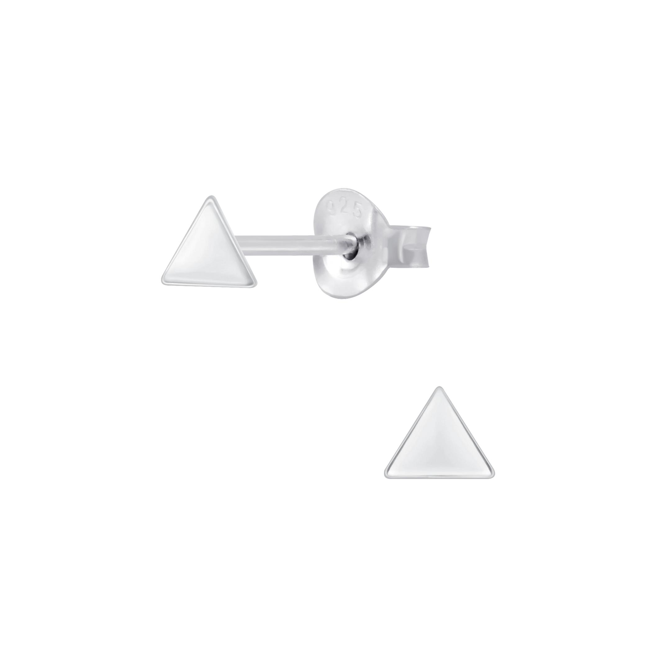 petite triangle sterling silver post earrings