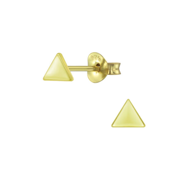 Tiny Triangle Gold-plated Sterling Silver Stud Earrings