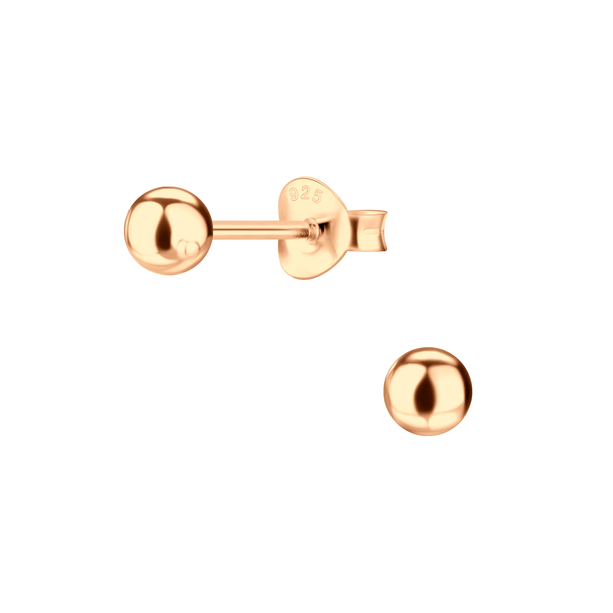 4 MM rose-gold plated nickel-free sterling silver post earrings