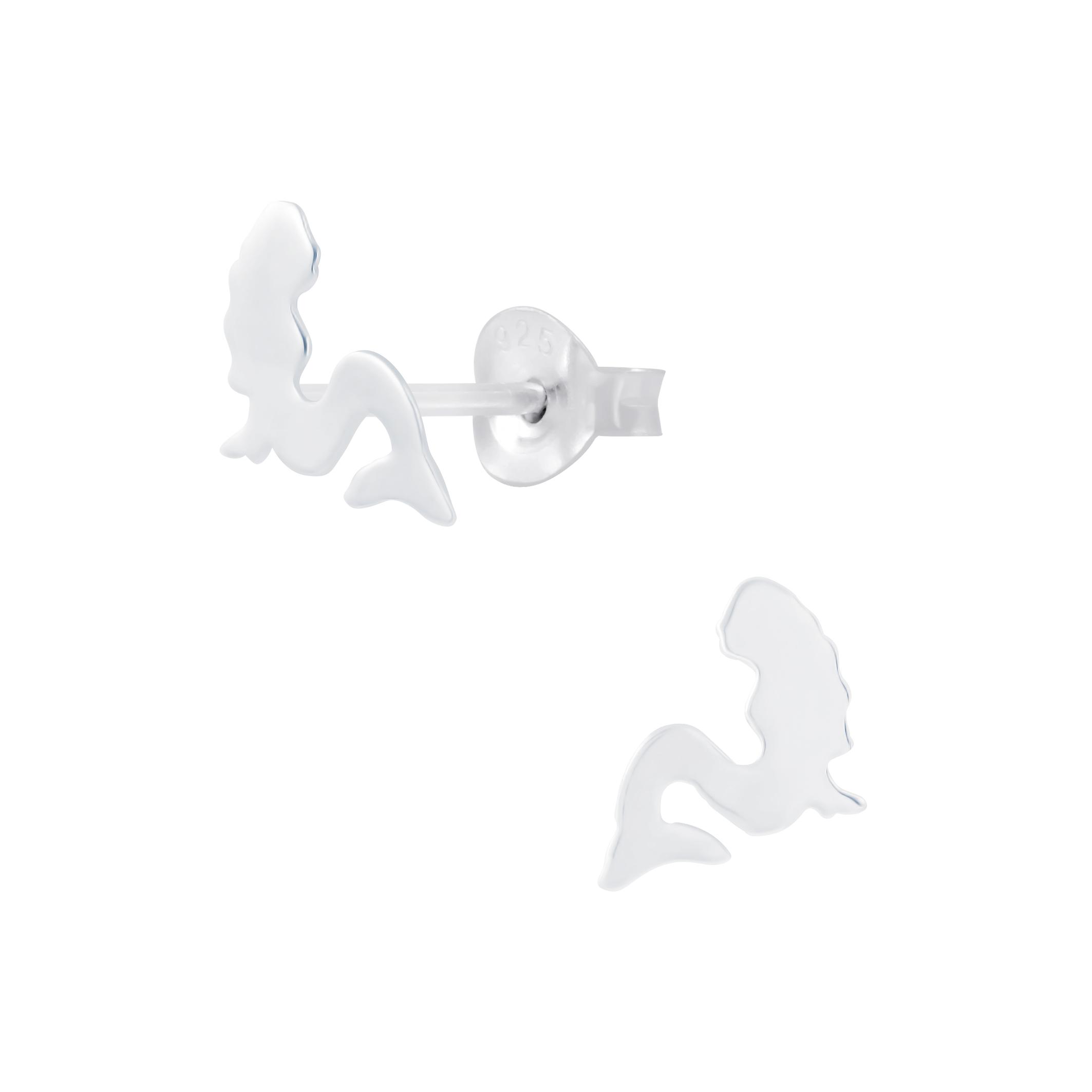 sitting mermaid sterling silver post earrings