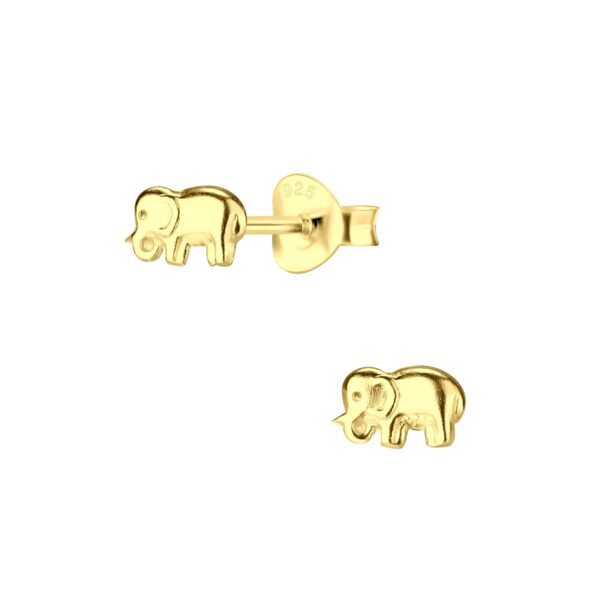 gold-plated nickel-free sterling silver elephant post earrings