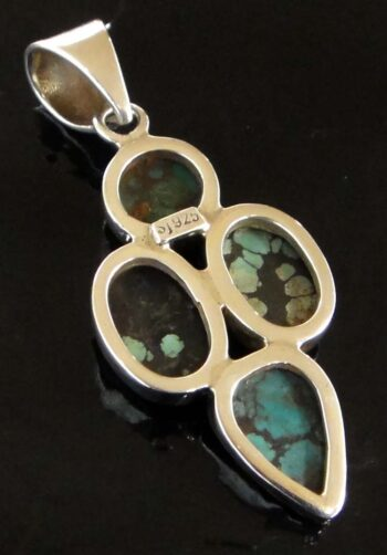 four stone turquoise and sterling silver pendant back
