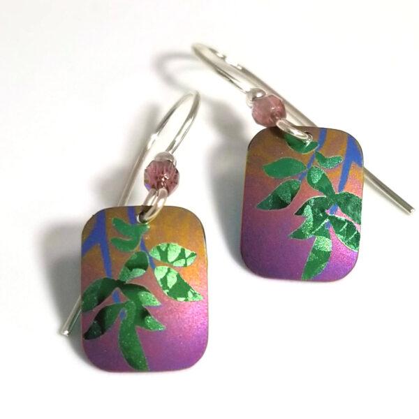 Holly Yashi Evergreen leaf earrings
