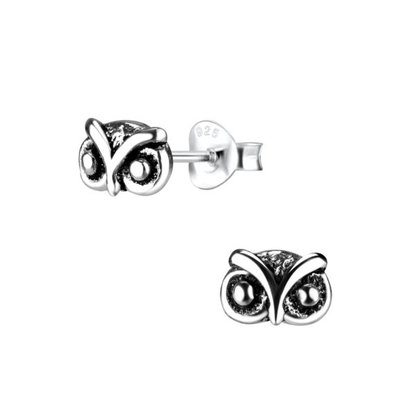 owl sterling silver post earrings