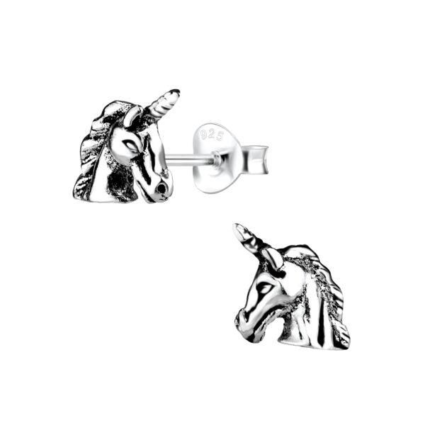 unicorn post earrings in sterling silver