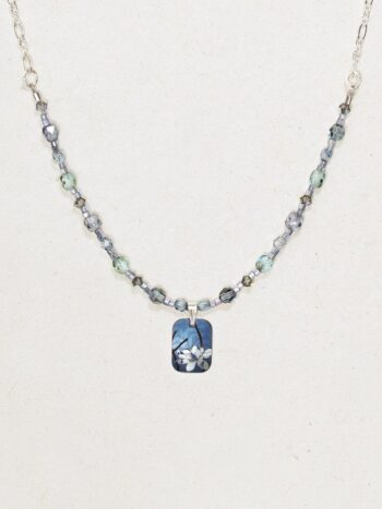 blue blooming lotus flower necklace by Holly Yashi