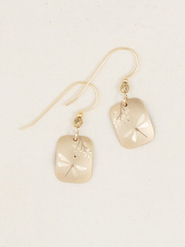 Goldtone dragonfly earrings by Holly Yashi