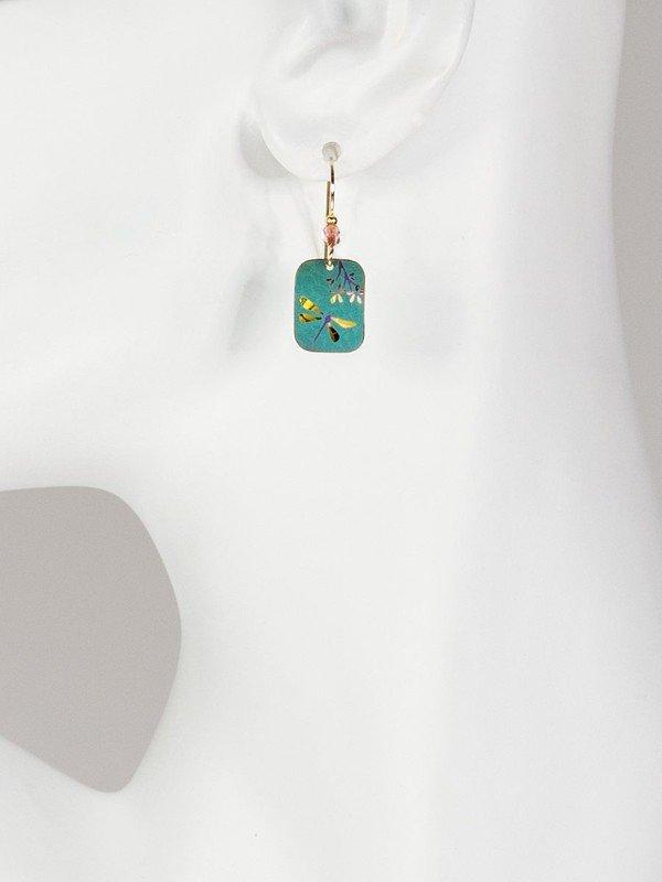 dark green dragonfly earrings