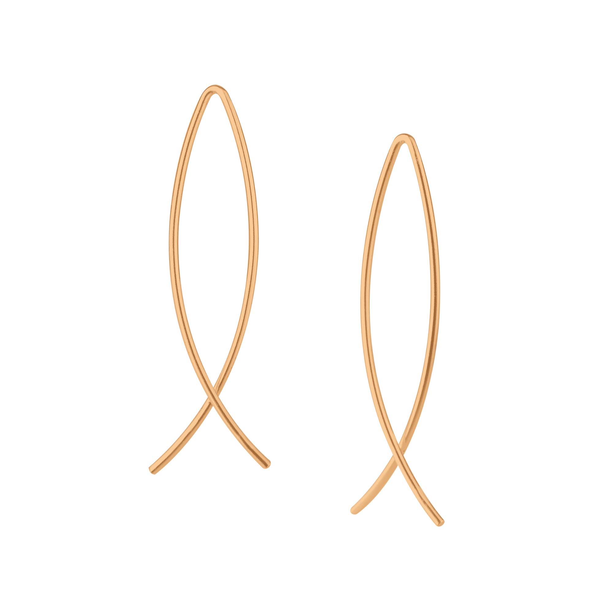 rose gold-plated nickel-free sterling silver marquise shape earrings