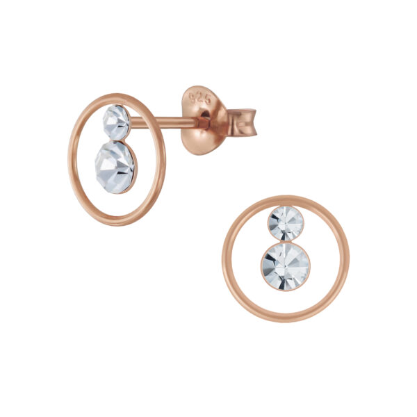 crystal and rose gold-plated sterling silver post earrings