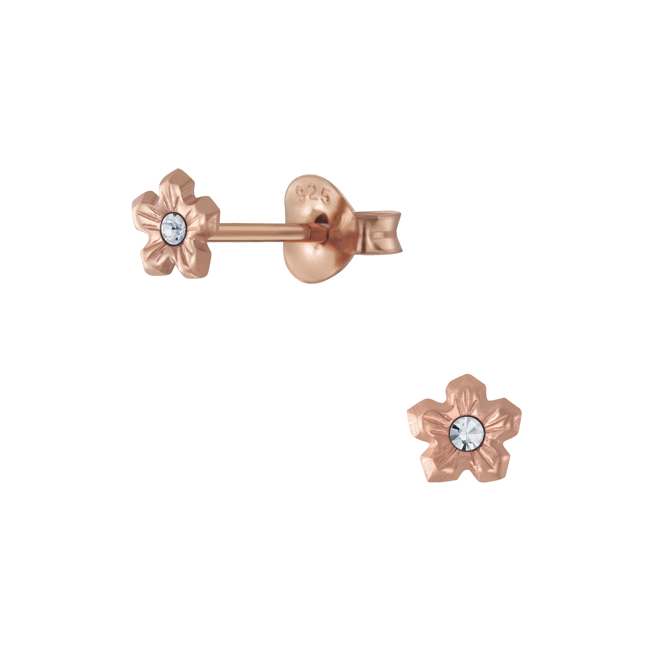 rose gold-plated nickel free sterling silver flower stud earrings with crystal center