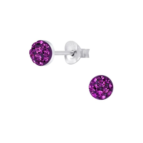 purple crystal stud earrings
