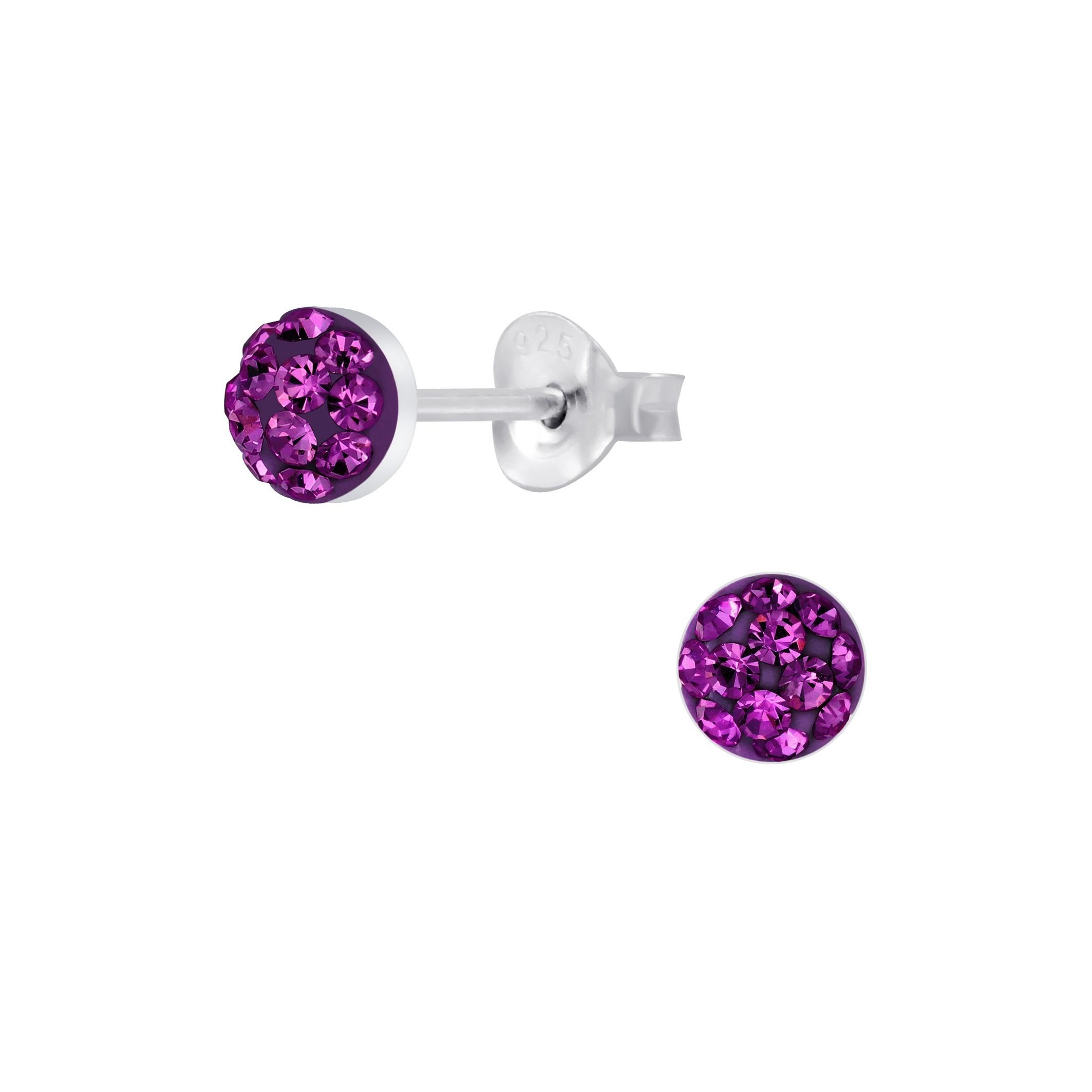 purple crystal stud earrings