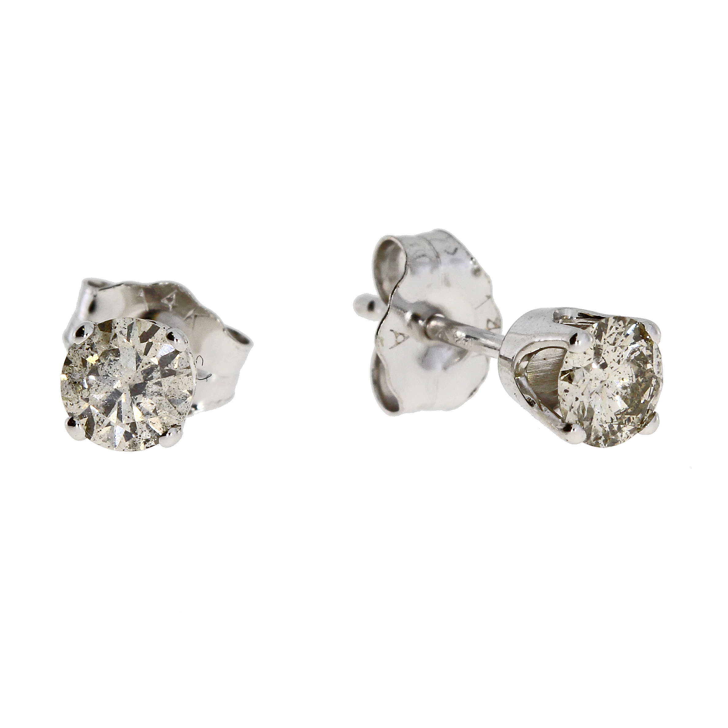 .50 CTW Diamond and 14k white gold stud earrings