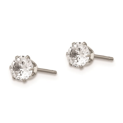 5 MM round cubic zirconia and stainless steel stud earrings