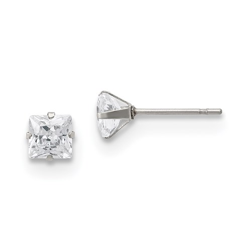 5 MM square clear cubic zirconia stud earrings