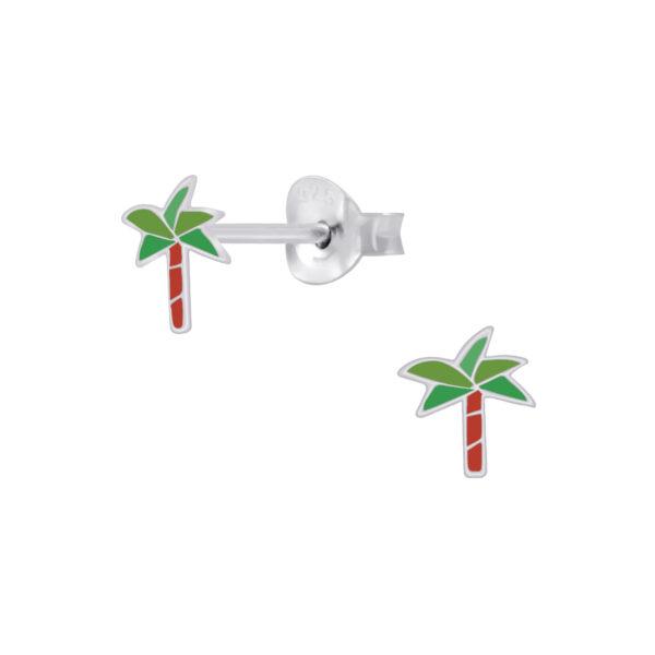 palm tree sterling silver post earrings