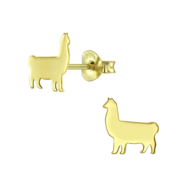 llama gold-plated sterling silver post earrings