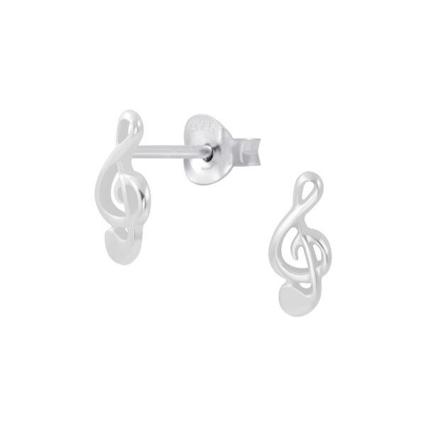 treble clef sterling silver music stud earrings
