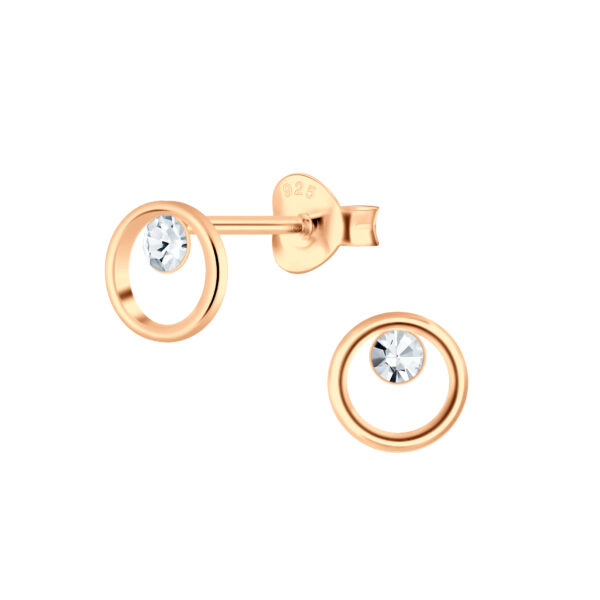 rose gold-plated nickel-free sterling silver and crystal post earrings
